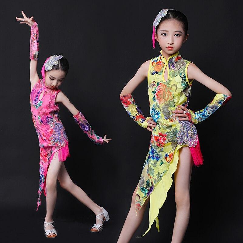2019 New Girls Latin Dance Dress Classical Cheongsam Design Children Cha Cha Samba Competition Dancing Costume Dresses DL4936