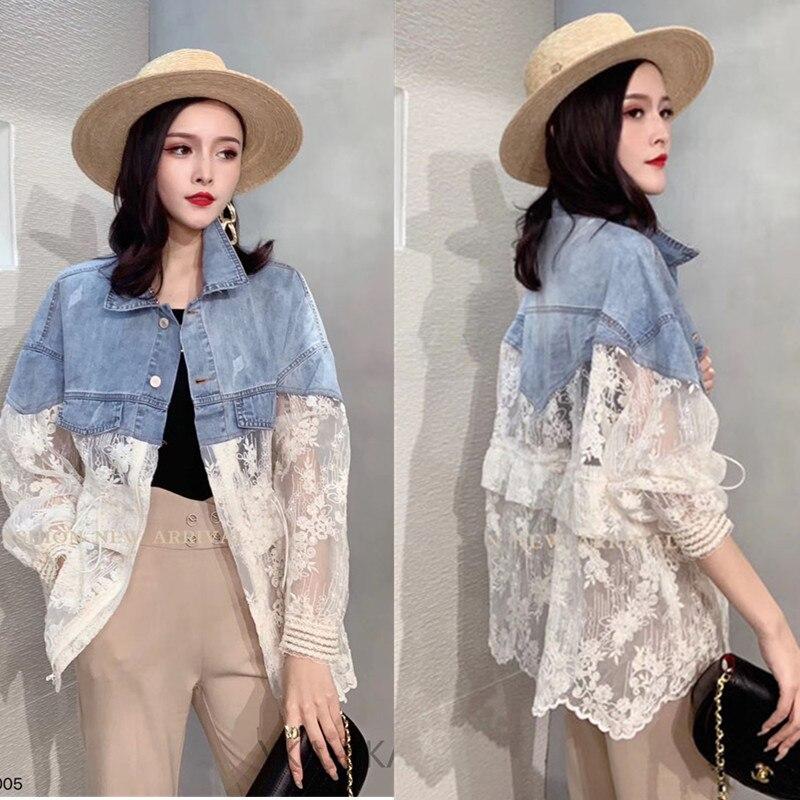 2020 New Summer Cutout Short Denim Jacket Women Loose Lace Splice Thin Sun Protection Clothes Ladies Plus Size Jacket Tide H243