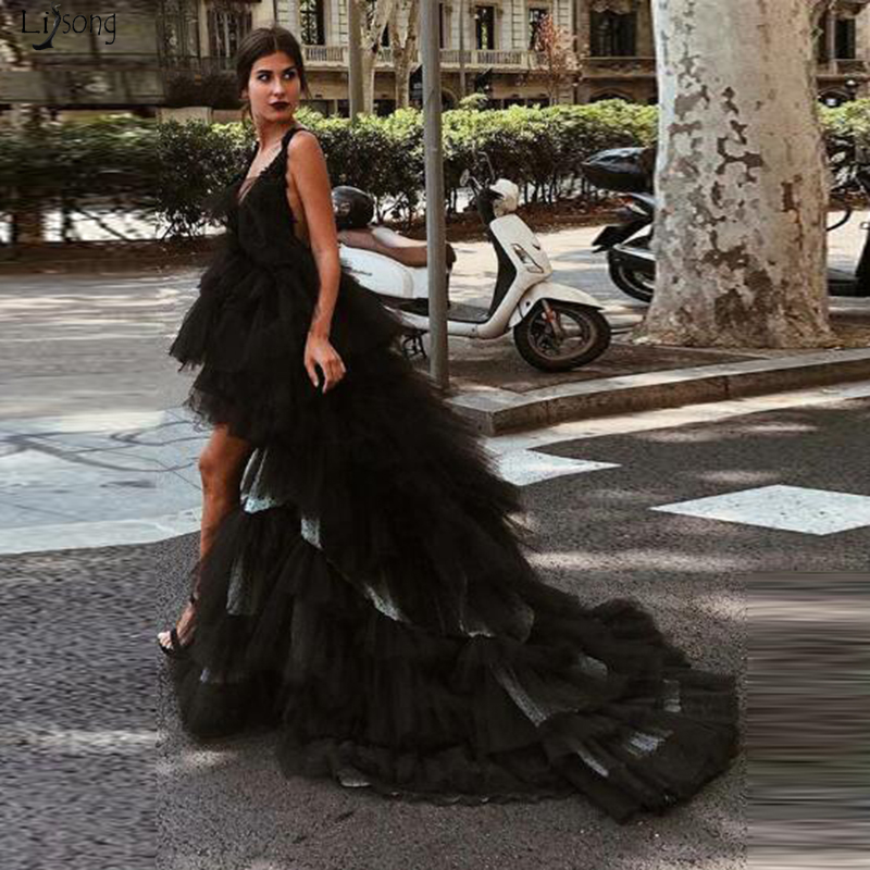 Black Robe de soiree Tiered Tulle High Low Prom Formal Dresses Sweep Train Sexy Backless Evening Pageant Dresses Abendkleider