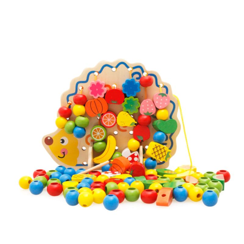 82Pcs Wooden Fruits Vegetables Lacing Stringing Beads Toy With Hedgehog Board