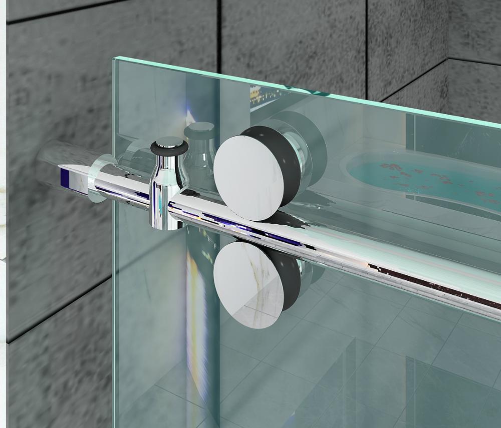 DIYHD 152cm/200cm Stainless Steel Shower Door Sliding Rail Hardware Frameless Sliding Shower Door Glass Door Hardware