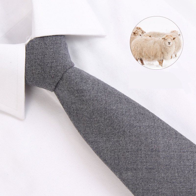 2019 New Fashion Ties Men Business Casual 8cm Solid Color Gray Wool Tie Wedding Ties For Men Designers Brand With Gift Box