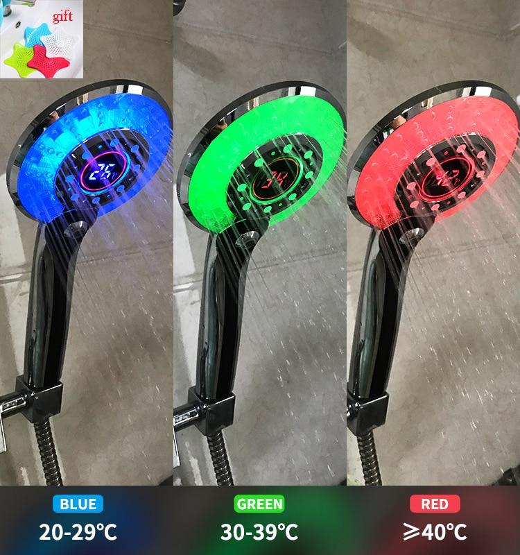 Handheld Shower Head Digital Temperature Control Shower Sprayer LED Light 3 Spraying Mode Water Saving Shower Filter