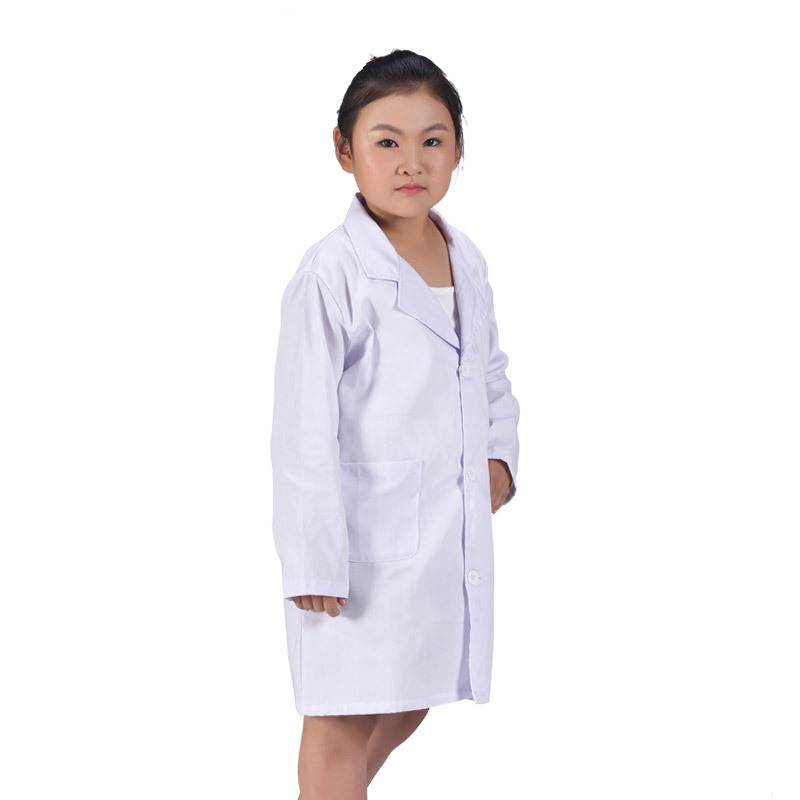 Newly 1 Pcs Children Nurse Doctor White Lab Coat Uniform Top Performance Costume Medical IR-ing