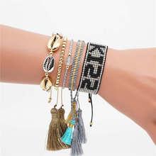 Go2boho Pulseras Mujer Moda 2019 Delica MIYUKI Kiss Bracelet Shell Gold Femme Jewelry Women Tassel Handmade Woven Loom
