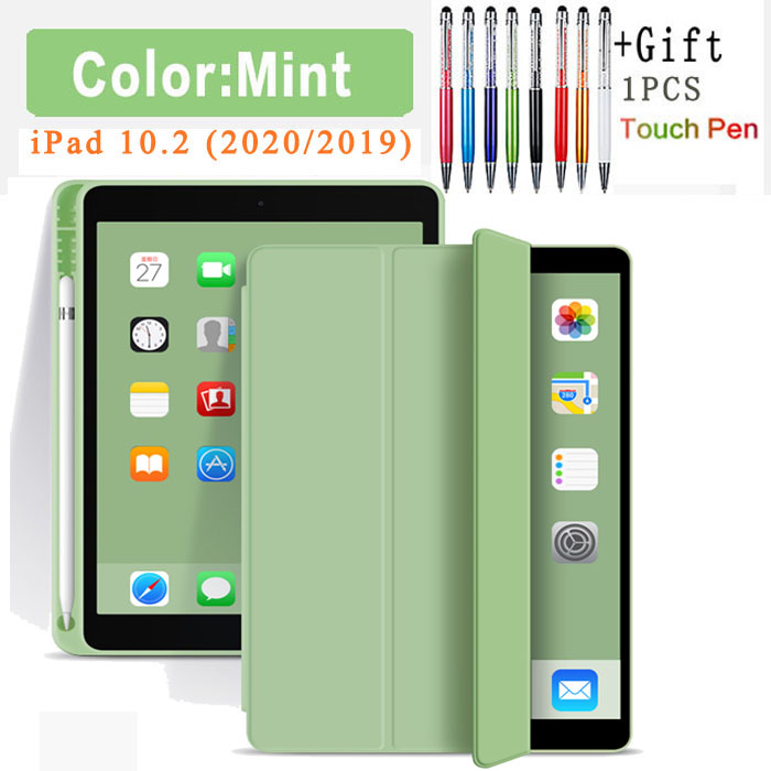 Flip Case-Mint White Silicone Case For iPad 10 2 2020 2019 Pu flip leather case For iPad 10 2