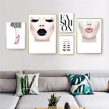 New Fashion Girl Posters Wall Art Canvas Painting Nordic Makeup Poster Picture Pink Lady Quote Wall Pictures For Bedroom(China)