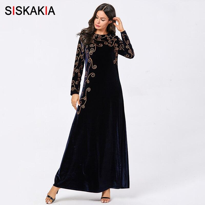 Siskakia velours longue robe bleu marine élégant ethnique broderie grande taille robes à manches longues musulman hiver 2019 vêtements décontractés nouveau