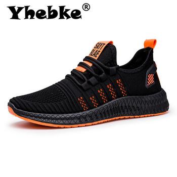 Yhebke 2020 New Mesh mężczyźni trampki obuwie lac-up mężczyźni buty lekkie wygodne oddychające buty do chodzenia Zapatillas tanie i dobre opinie Flyknit RUBBER Lace-up Pasuje prawda na wymiar weź swój normalny rozmiar Podstawowe Wiosna jesień 19111082282860010-415