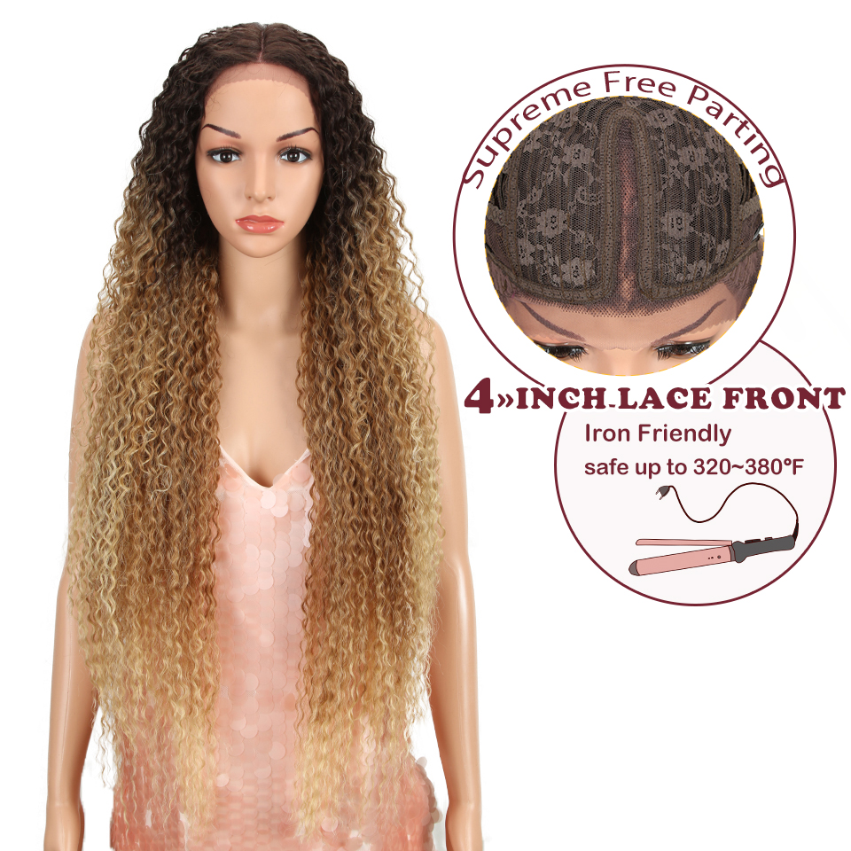 "Magic 38""Inch Kinky Curly Wigs Long Synthetic Lace Front WIgs For Black Women Ombre Blonde Heat Resistant Hair High Temperature"