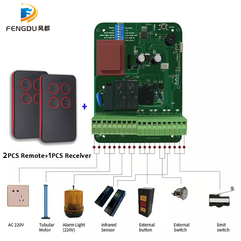 433mhz AC220V Control Board Receiver with remote control for Roller shutter Tubular Motor Controller