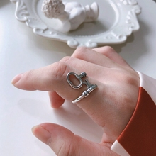 Silvology 925 Sterling Silver Key Rings Vintage Creative Design Korea Style Adjustable for Women Birthday Jewelry