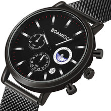 BOAMIGO relojes de negocios para hombre, de cuarzo, resistente al agua, de lujo, informal, con cronógrafo, deportivo, Masculino