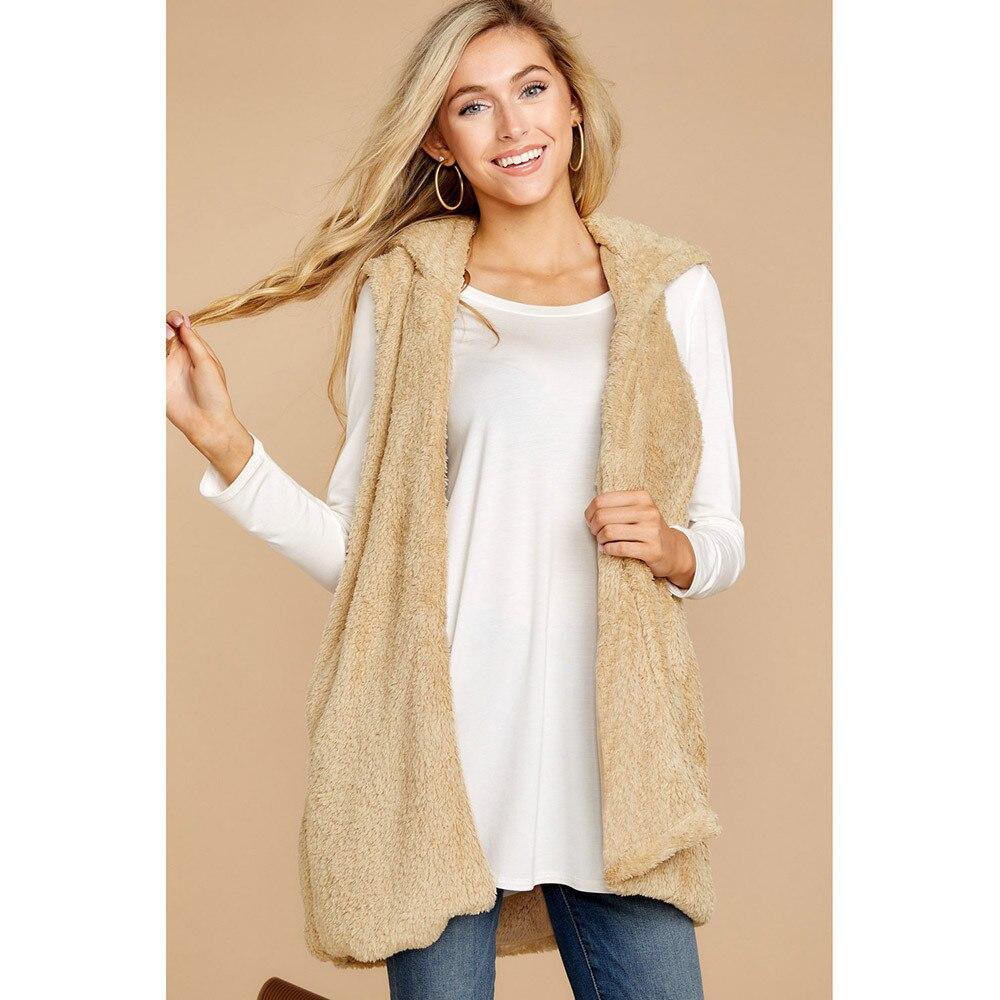 JAYCOSIN  Coat  Women Lady Faux Fur Solid Hoodie Sleeveless Warm Vest Waistcoat Outwear Tops Solid Color Medium Length Waistcoat