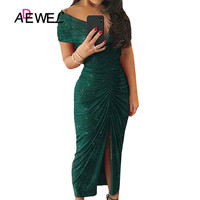 ADEWEL Green Black Glitter Off Shoulder Ruched Slit Party Dress High Slit Bodycon Short Sleeve Solid Maxi Long Party Dresses