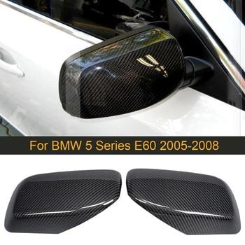 Carbon Fiber Car Rearview Mirror Covers Caps for BMW 5 6 Series E60 E61 E63 E64 Convertible Side Mirror Caps Covers Shell