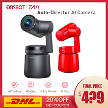 OBSBOT Tail Auto Director AI Camera Track auto zoom capture up to 4K/60fps vs insta360 one x evo 360 camera