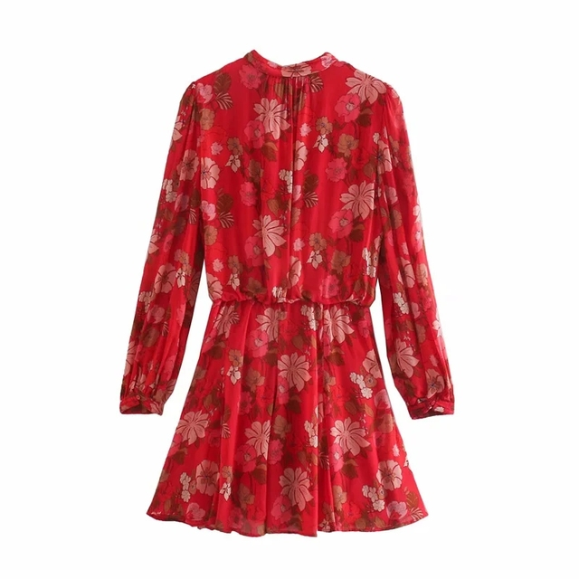 Red Floral Printed Chiffon Mini Dress Women Za 2020 Fashion Bow O-neck Pleated Long Sleeve Dress Woman Vintage Elegant Dresses 6