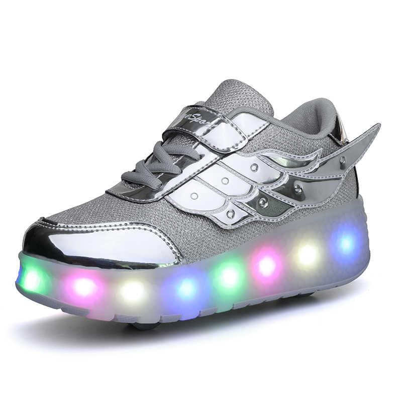 Çocuk Tek Iki Tekerlek Işıltılı Parlayan Sneakers Led Ayakkabı Işık Paten Ayakkabı Çocuk Erkek Kız USB şarjlı ledli ayakkabı