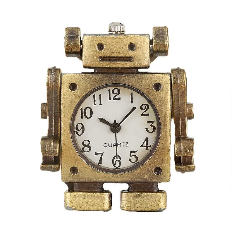 Wonderful Thoughts Robot Shape Pocket Watch Male Necklace Chain Fashion Open Face Quartz Pendant Watch Gift Montre Gousset Homme