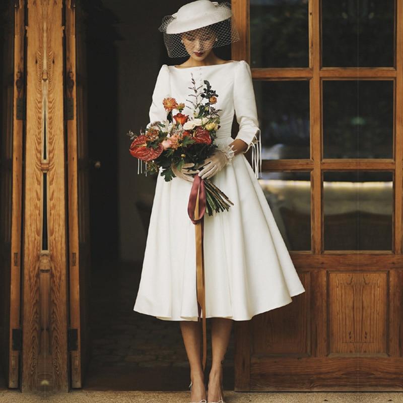Cheapest Boho A-line Jewel Wedding Dress 2019 Tea Length Satin Country Wedding Bride Dresses Vestido Noiva Praia New