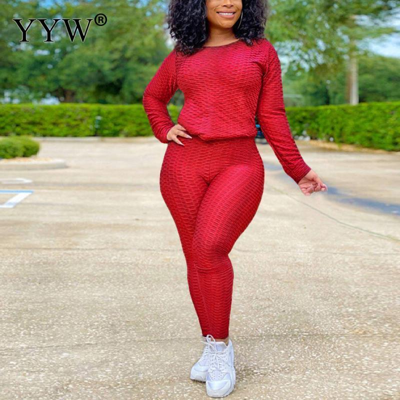 Conjunto de chándal deportivo plisado para mujer, camiseta de manga larga, pantalones, mallas, chándal activo, conjunto de Fitness de dos piezas