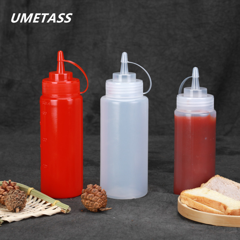 1PCS Empty Plastic Squeeze Bottle Condiment Dispenser With Twist On Cap For Olive Oil,Salad Dressing Container BPA Free