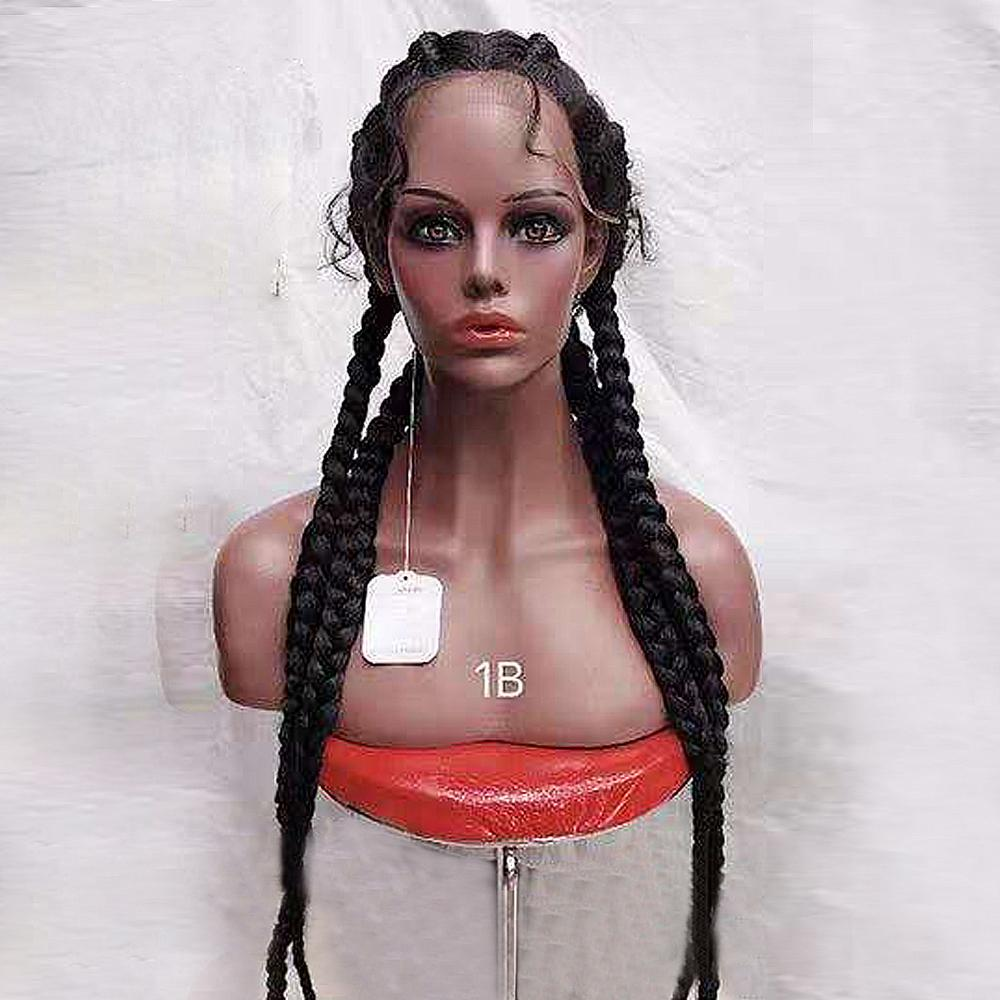 30 Inch Braided Wigs Synthetic Lace Front Wig For Black Women Cornrow Braids Lace Wigs With Baby Hair Box Braid Wig 613 Color