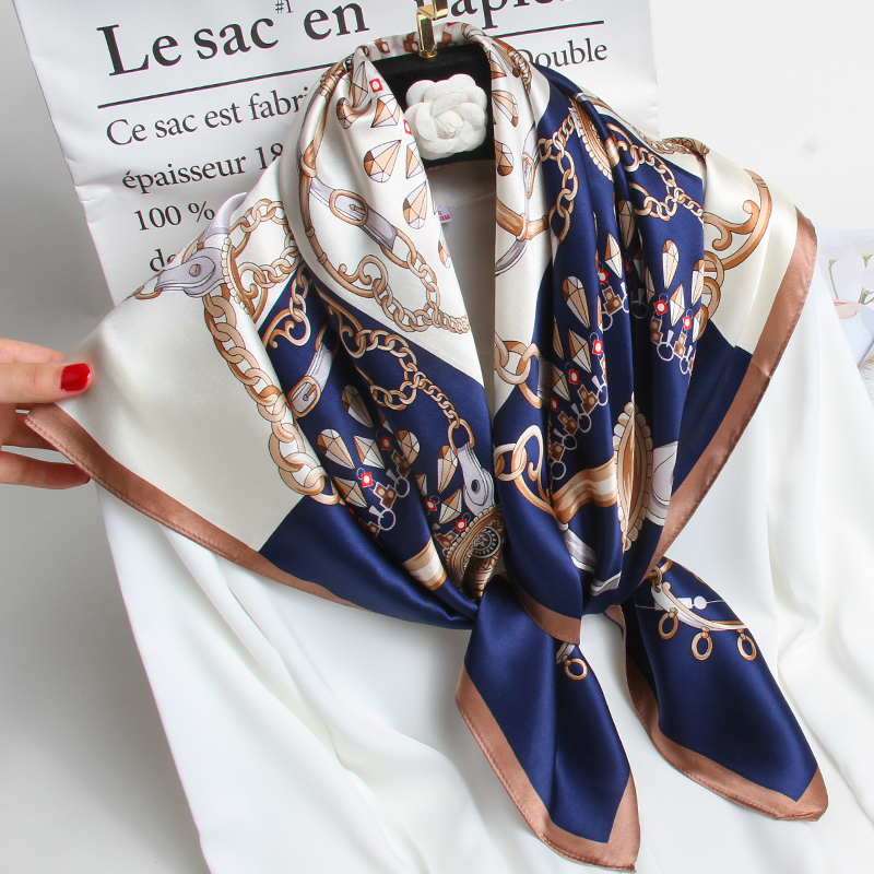 100% <font><b>Silk</b></font> Square <font><b>Scarf</b></font> <font><b>90</b></font><font><b>*</b></font>90cm Women 2020 Brand Hangzhou Pure <font><b>Silk</b></font> Bandana Wraps for Ladies Neckerchief Real Square <font><b>Silk</b></font> <font><b>Scarves</b></font> image