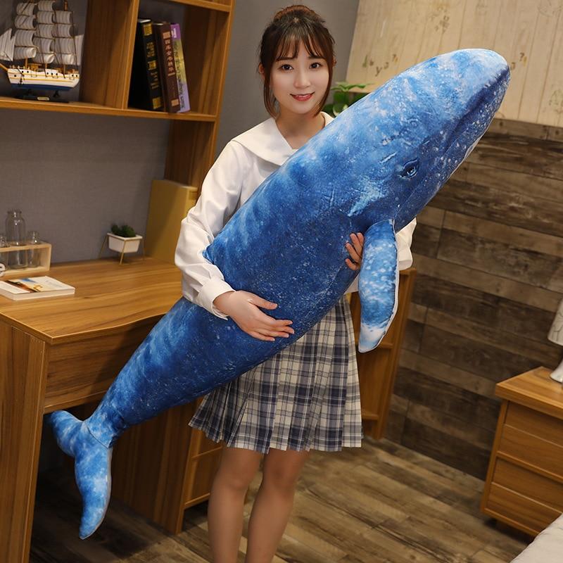 Гигантский КИТ мечты и Акула, плюшевая игрушка, мягкая плюшевая кукла-Кит, симпатичная диванная подушка, милый подарок для детей, 55-130 см