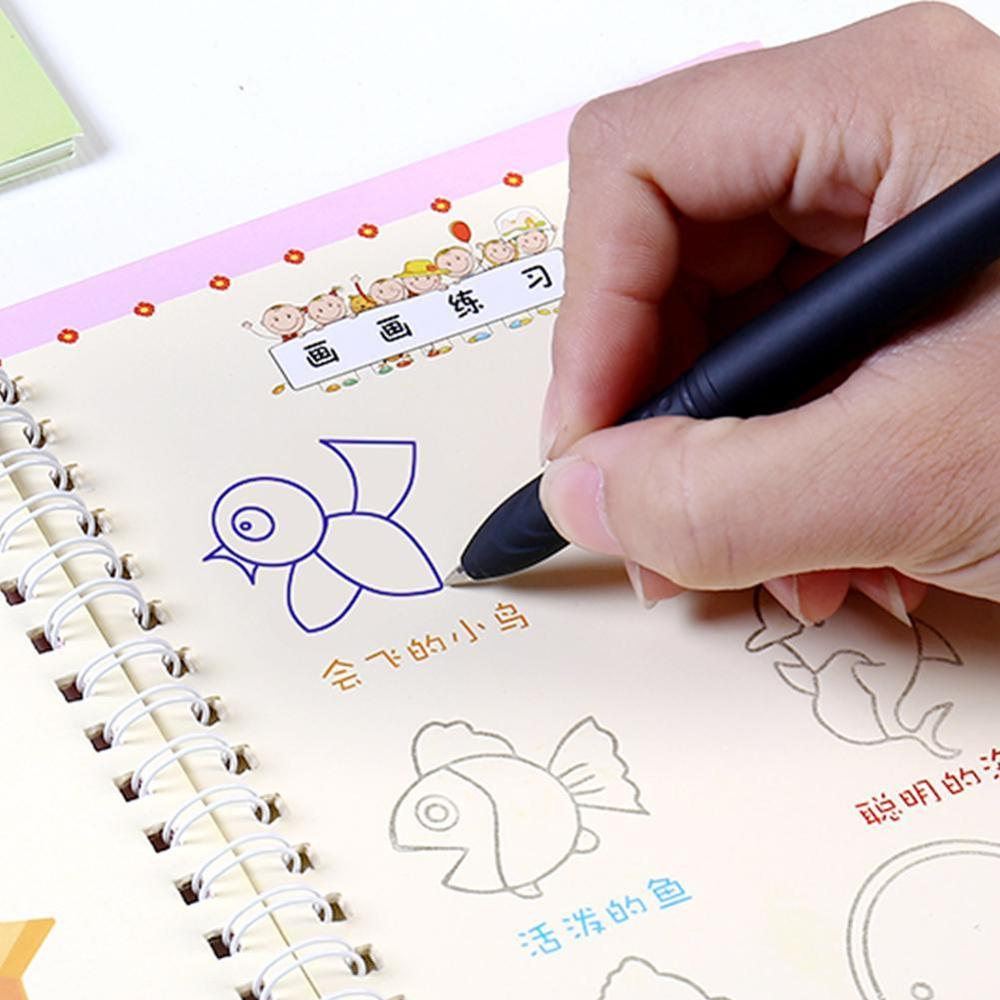 Dropshipping English Alphabet Copybook Drawing Toys Hand Writing Groove Auto Fades Educational Toys For Children Kids Montessori