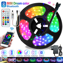Bluetooth DreamColor led strip light 5M 10M 15M 20M RGB Led Diode Tape DC 12V Power Adapter With Bluetooth APP Remote Controller