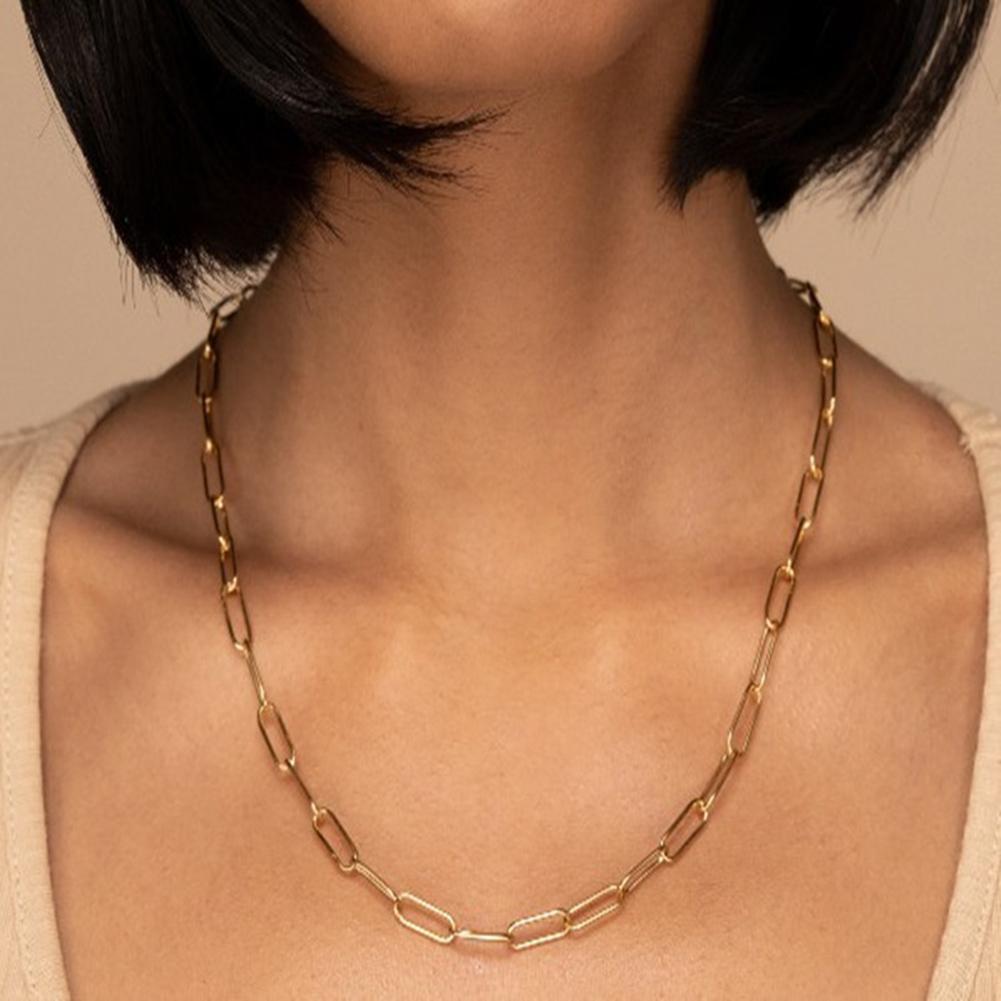 Novo punk moda feminina multicamadas retângulo link corrente gargantilha colar afirmação hip hop jóias presente