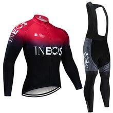 INEOS Conjunto de Ropa de Ciclismo para hombre conjunto de JERSEY y pantalones térmicos de lana profesional, Maillot de bicicleta para invierno, 2020