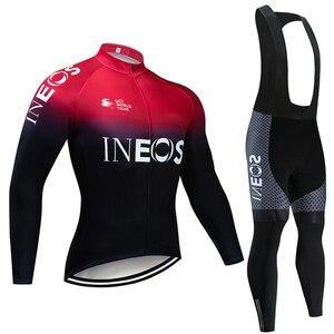 Image 1 - INEOS Conjunto de Ropa de Ciclismo para hombre conjunto de JERSEY y pantalones térmicos de lana profesional, Maillot de bicicleta para invierno, 2020