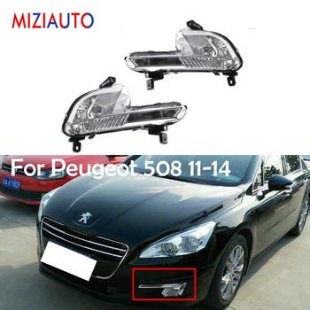 MIZIAUTO Front Bumper Fog Light For Peugeot 508 2011-2014 Fog lamp no bulb headlight Day Running light fog light assembly