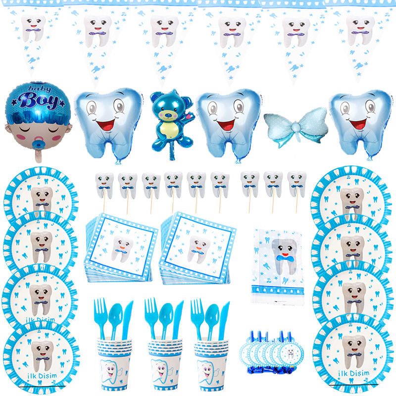 Мой Первый зуб вечерние Paeper кружки, тарелки, салфетки для мальчиков зуб