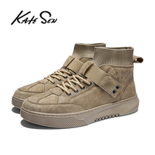 KATESEN men shoes new Men causal Genuine Leather man loafers sneakers British dress lace-up male leisure