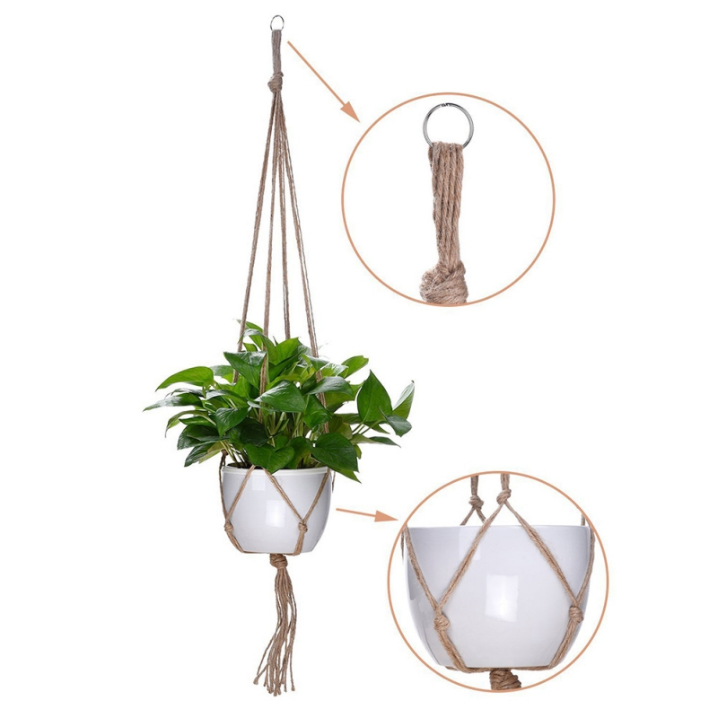 Vintage Plants Hanger Hook Flower Pot Holder 4 Legs String Hanging Rope Wall Art Home Garden Balcony Decoration