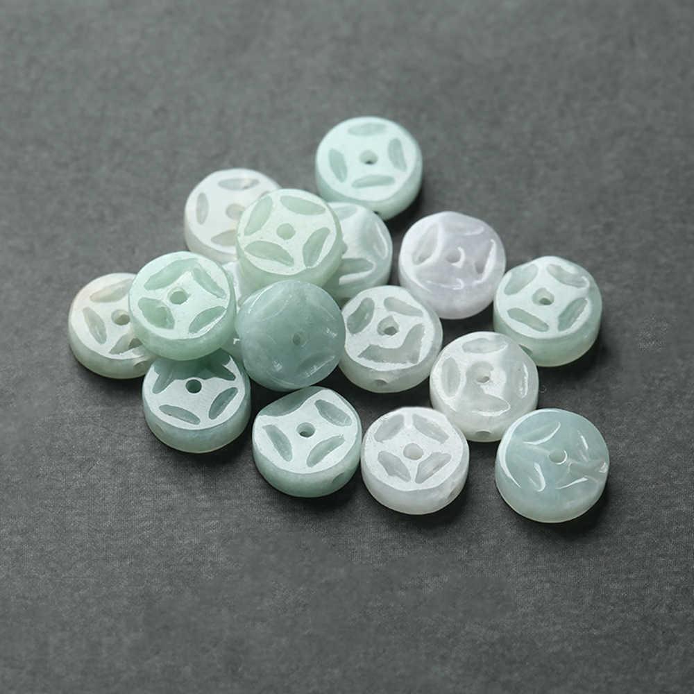1 stücke 3mm * 8mm Natürliche Weiß/Grün Alte Münzen Form Stein E merald Perlen Für Schmuck die DIY Armband Halskette 18123