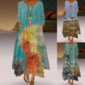 F # винтажное женское платье большого размера с принтом повседневное винтажное богемное платье с длинным рукавом и круглым вырезом Женское ...