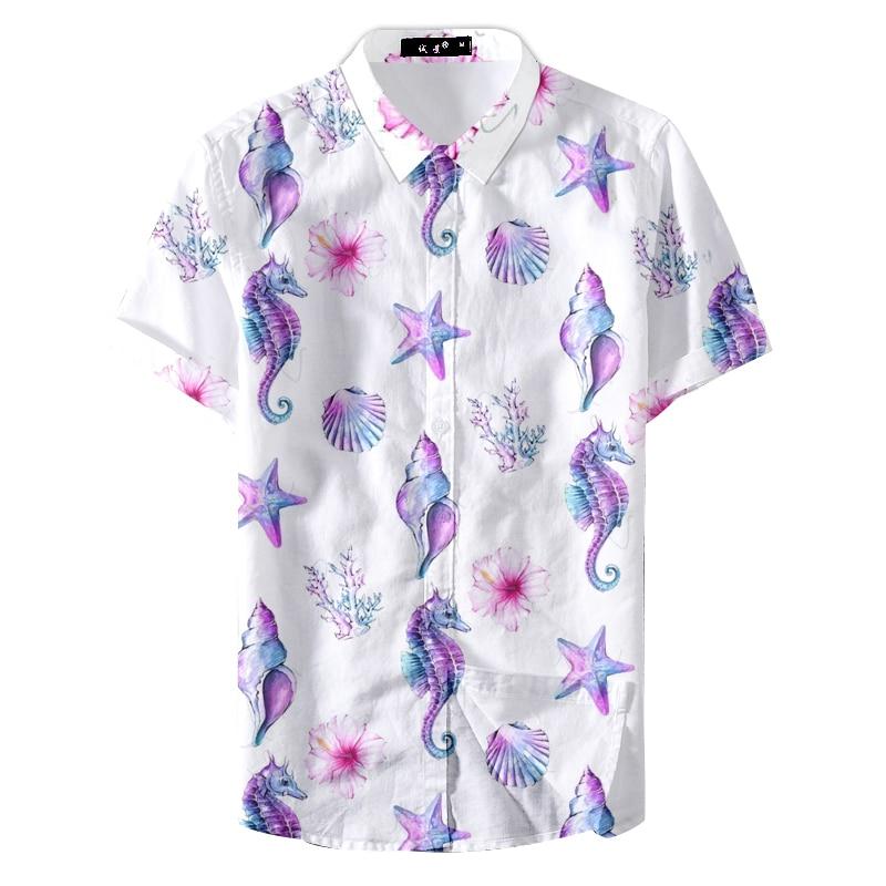 2019 Summer Camisa Hombre Manga Corta Shell Cute Printing Casual Shirt