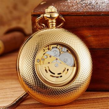 Luxury Copper Mechanical Pocket Watch Hand Wind Watch Vacuum IPG Plate Pendant Fob Clock With Chain Men Women relogio de bolso