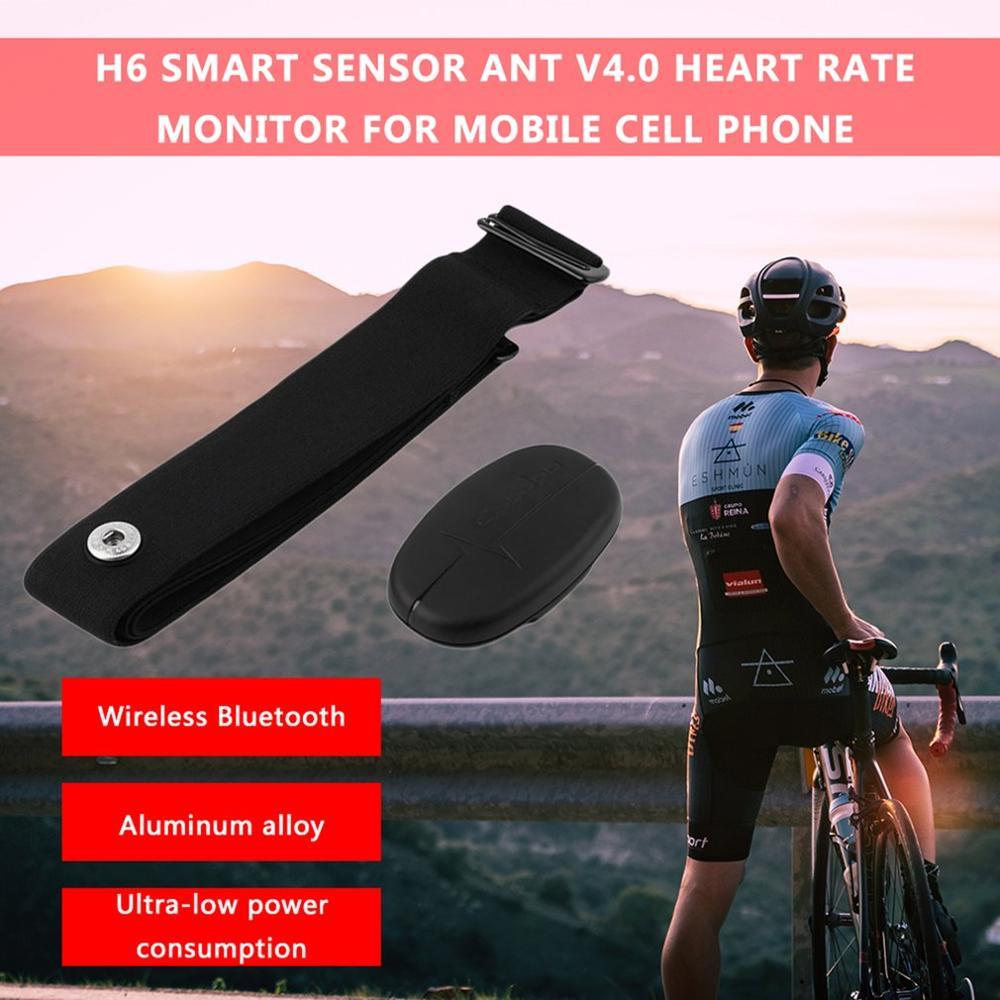 Black H6 Smart Sensor Chest Strap ANT V4.0 Wireless Sport Heart Rate Monitor Fitness for Mobile Cell Phone