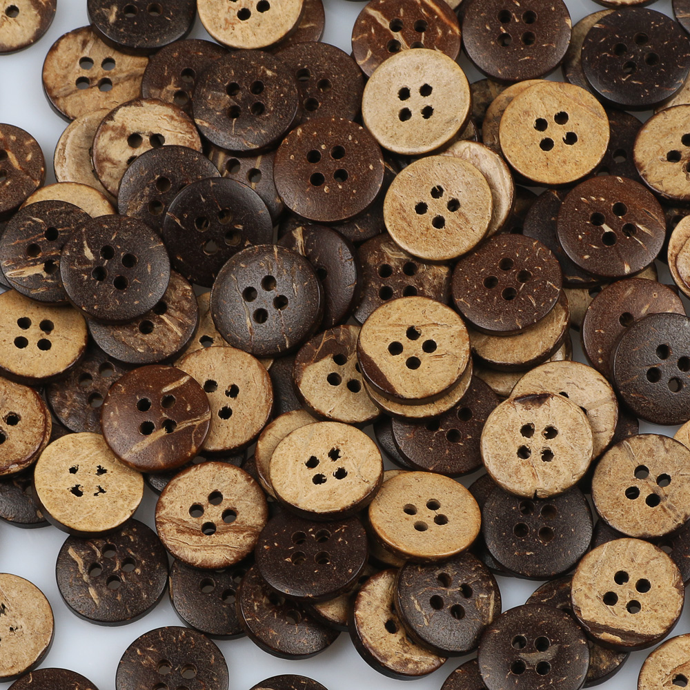 Smart 15mm 20/50/100pcs Brown Coconut Shells 4 Hole Buttons For Clothing Scrapbooking Garment Sewing Accessories Diy Crafts