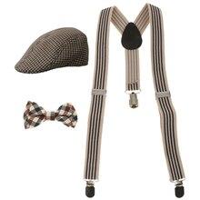 Модная детская одежда для маленьких мальчиков Stretchble в форме буквы У на спине подтяжки и бабочка и берет плоская шляпа набор