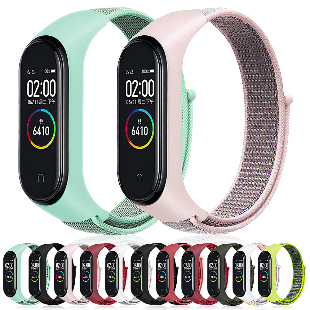 Velcro Nylon Strap For Xiaomi Mi Band 4 Bracelet NFC Smart Watch Replacement Xiaomi Mi Band 3 Colorful Strap Anti-lost Wristband