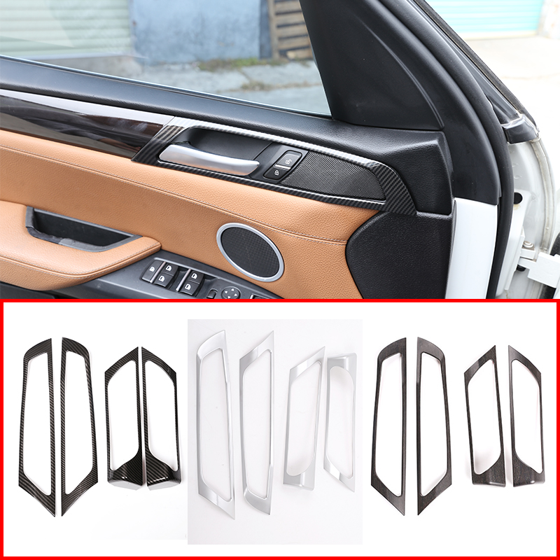 4pcs/set Carbon Fiber Oak Wood Grain Silver ABS Chrome Inner Handle Frame Trim For BMW X3 F25 2011-2017