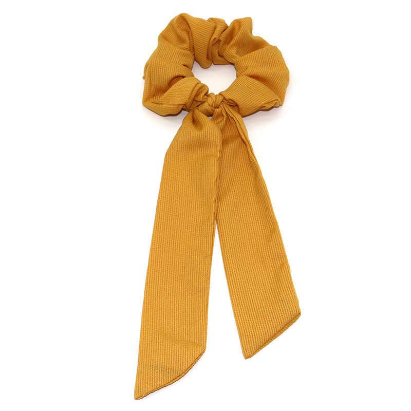 Neue Design Solide Frauen Haar Schal Elastische Böhmische Haarband Scrunchie Bogen Haar Gummi Seile Mädchen Haar Krawatten Zubehör