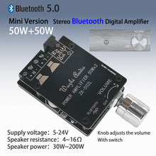 MINI Bluetooth 5.0 Wireless Audio Digital Power Amplifier Stereo Papan 50Wx2 Bluetooth Amp Amplificador ZK-502L(China)